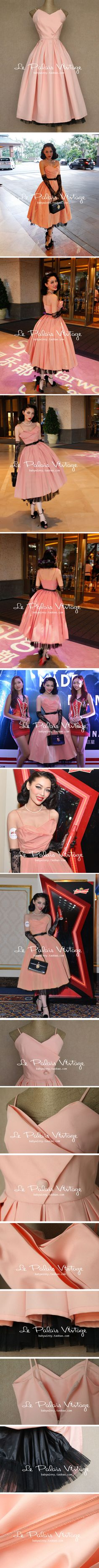 le palais vintage small number of elegant retro classic peach pink tutu dress straps 0.75kg-Taobao