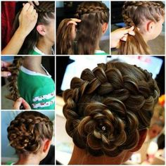 DIY Dutch Flower Braid Updo Hairstyle - This updo hairstyle looks great. It is appropriate for most of occasions. I helped my daughter try - Little Girl Braid Hairstyles, Little Girl Braids, Flower Girl Hairstyles, Braided Hairstyles Updo, Girls Braids, Braided Updo, Trendy Hairstyles, Updos, Hairstyle Braid