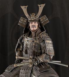 Video animation here: vimeo.com/221073311 Kabuto Samurai, Samurai Weapons, Samurai Warrior, Samourai Tattoo, Oni Demon, Martial Arts Weapons, Samurai Artwork, Armadura Medieval, 3d Figures