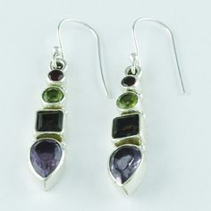 MULTI STONE MARVELOUS DESIGN HIGH QUALITY 925 HANDMADE STERLING SILVER EARRINGS #SilvexImagesIndiaPvtLtd #DropDangle