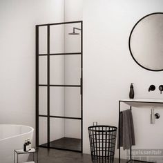 BWS Nisdeur Frame met Vast Paneel 80x200 cm 8 mm NANO Glas Mat Zwart Raster Modern Farmhouse Bathroom, Bathroom Toilets, Bathrooms, Wardrobe Rack, Ladder Decor, Sweet Home, New Homes, Shelves, Interior Design
