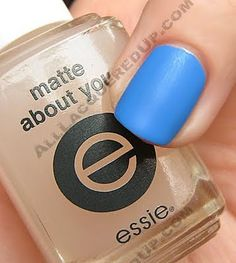 Essie matte top coat- makes any color matte. Great to do matte and gloss of same color without buying double the polish!