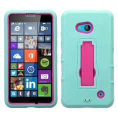 Insten Symbiosis Soft Silicone/ PC Dual Layer Hybrid Rubber Phone Case Cover with Stand For Microsoft Lumia 640