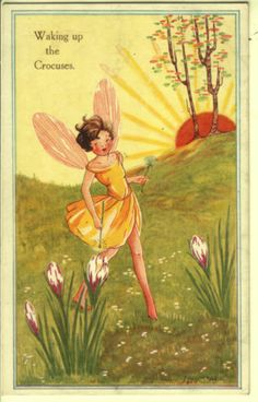 Little fairy goes to wake up the flowers.... :)