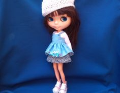 Sky blue pinafore dress for Blythe by RainbowDaisies on Etsy
