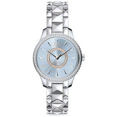 Dior VIII Montaigne Diamond & Two-Tone Stainless Steel Automatic... (£8,895) ❤ liked on Polyvore featuring jewelry, watches, apparel & accessories, watch bracelet, dial watches, blue diamond watches, bracelet watch and christian dior watches