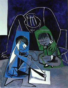 Pablo Picasso - Francoise, Claude and Paloma, 1954