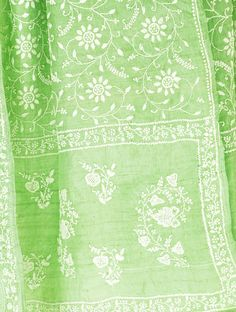 Pistachio Tussar Chikankari Stole Embroideries of India : Chikankari - Embroideries of India - www.jaypore.com