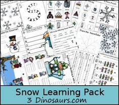 Free Snow Learning Pack for ages 2 to 9 over 100 pages with lots of Math and Language activities - 3Dinosaurs.com