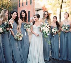 Love this color pallette for an early fall wedding! J Crew bridesmaid dresses seen on Martha Stewart Weddings.