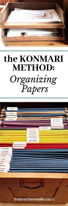 The KonMari Method: Organizing Papers Learn how to use the KonMari method of organizing papers so you can finally tame the paper monster in your home! The post The KonMari Method: Organizing Papers appeared first on Paper Diy. Organizing Paperwork, Clutter Organization, Household Organization, Home Office Organization, Organizing Your Home, Organizing Tips, Organization Ideas, Organized Office, Diy Organizer