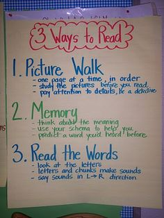 3 Ways to Read: Could use this anchor chart with fiction or informational text to support how students use books.