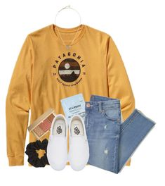 """""""just stop your crying it's a sign of the times. """" by samanthars ❤ liked on Polyvore featuring Patagonia, Starskin, Topshop, Estée Lauder, Vans and Kendra Scott"""