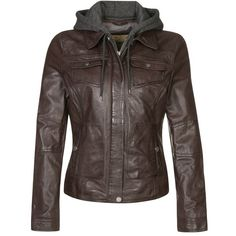 Oakwood Leather jacket ($225) ❤ liked on Polyvore featuring outerwear, jackets, tops, brown, zipper leather jacket, leather jacket, genuine leather jacket, brown jacket and hooded leather jacket
