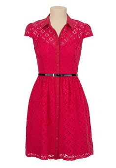 Belted Lace Shirtdress available at #Maurices