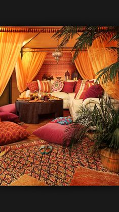 15 Outstanding Moroccan Living Room Designs An instant way to create authenticity to your Moroccan-inspired living room is to add kilim rugs and pillows. The wool and flat weave method means that Morrocan Decor, Moroccan Room, Moroccan Interiors, Moroccan Lounge, Moroccan Theme, Moroccan Curtains, Moroccan Decor Living Room, Moroccan Garden, Moroccan Inspired Bedroom