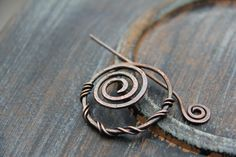 Oxidized textured spiral shawl pin scarf pin fibula rustic