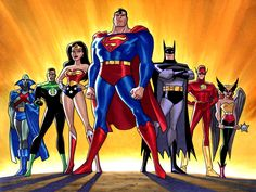 the justice league including superman the green lantern, batman The Justice League Background is made up from an original meeting with superman, and batman They decided that they had to form a new super hero group, with a wide variety of powers. Justice League Unlimited, Bruce Timm, Marvel Dc, Marvel Funny, Marvel Comics, Hero Squad, Justice League Party, Super Hero Day, Super Man