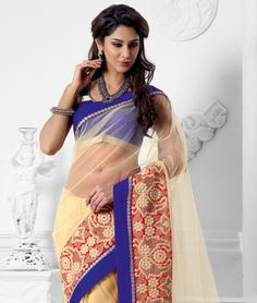 Get the beautiful ethnic look! Adorn yourself with one of the most exquisite and amazing collection of sarees. They define beauty, class and elegance with intricate work and great designs. So dress up like a princess and flaunt a unique traditional style.BRAND: BrijrajCATEGORY: Saree with Unstitched BlouseARTICLECOLOURMATERIALLENGTHSareeCreamNet5.40 metersBlouseBluePoly Dupion0.80 meterWe would always want to send you what we showcase but there might be a slight variation in color due to…