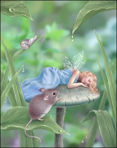 Sweet Dreams by `twosilverstars on deviantART ... fairy sleeping on toadstool with mouse looking on