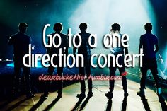 I definitely want to go to a One Direction concert before I die.