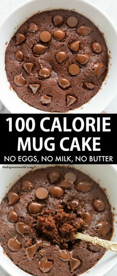 100 Calorie Chocolate Mug Cake Recipe made with simple and easy ingredients! No eggs, No milk, No butter needed! Fluffy, moist and tender on the outside. Vegan, Gluten Free, Dairy Free and Sugar Free.