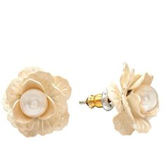 LC Lauren Conrad Simulated Pearl Flower Button Stud Earrings via Polyvore