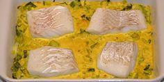 Virkelig lækker opskrift på torsk i fad med porrer og æble samt en fantastisk karrysauce med fløde.