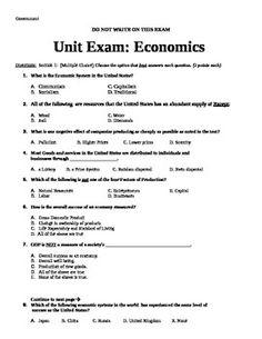Economics Unit Exam Assessment (Economics / Government) Future Classroom, Classroom Decor, Test Exam, Cornell Notes, Multiple Choice, Questions, School Teacher, Teacher Resources, Economics