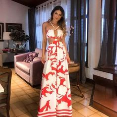 Women New Fashion 2018 Open Back Vintage Boot Cut Red Jumpsuit Print Halter Backless Wide Leg Jumpsuit Fashion 2018, Women's Fashion Dresses, Love Fashion, Fashion Looks, Womens Fashion, Mode Boho, Summer Outfits, Summer Dresses, Look Chic