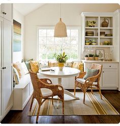 Breakfast nook bench round table and chairs