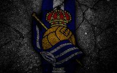 壁紙をダウンロードする ロイヤル社会, ロゴ, 美術, リーガ, サッカー, サッカークラブ, LaLiga, グランジ, 実Sociedad FC