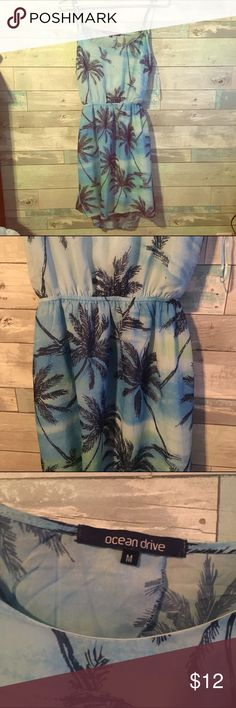 Tropical Dress💙✨ NWOT worn once for like a few minutes super comfy has been sent to the cleaners and sanitized love the open back offers are welcomed :) no trades. Ocean Drive Dresses