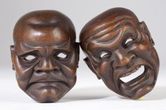"""Noh masks (能面 nō-men or 面 omote) all have names. They are carved from blocks of Japanese cypress (檜 """"hinoki""""), and painted with natural pigments on a neutral base of glue and crunched seashell. #Japan"""