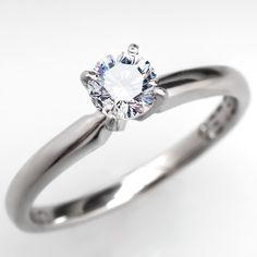 Excellent Cut IGI Certified Leo Diamond Solitaire Engagement Ring 14K White Gold & Platinum