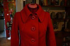 vintage 60s 70s red wool coat 1960s 1970s mod twiggy