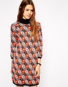 So funky and chic - 70's inspired. My take: paired with Stuart Wietzman over the knee suede black boots. #layeredny ASOS Knitted Dress In Tapestry Pattern with Turtle Neck