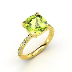 Cecilia Ring Cushion Peridot 18K Yellow Gold Ring with Peridot & Diamond