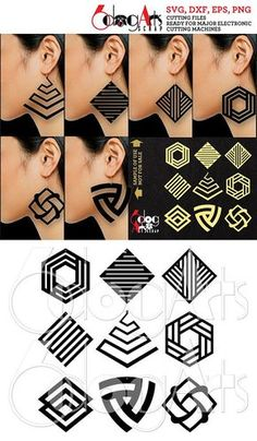9 Wood / Acrylic / Leather Geometric Earring / Pendant Templates Vector Digital SVG DXF Jewelry Cut Files Download Laser Die Cutting JB-1119