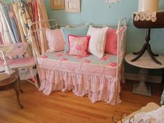 Vintage Chic Furniture Schenectady NY: antique baby crib daybed with wonderful chenille and rose fabrics