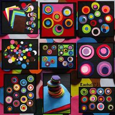 Something we enjoyed last year - felt pieces & circles. We didn't actually do this for but it seems appropriate to share it 2 days… Kindergarten Art, Preschool Art, Montessori Art, Montessori Elementary, Art For Kids, Crafts For Kids, Kandinsky Art, Creative Area, Dot Day