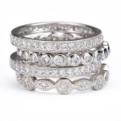 Great for vacations!! SusanB.Designs Simulated Diamond Stackable Bands Set of 4 Rings Sterling Silver