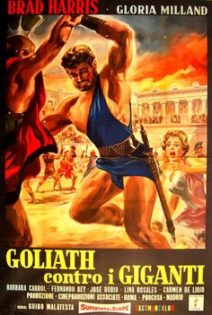 Goliath Against the Giants Action Movie Poster, Action Movies, College Books, Best Horror Movies, Epic Movie, Best Horrors, Pulp Art, Illustrations And Posters, Old Movies