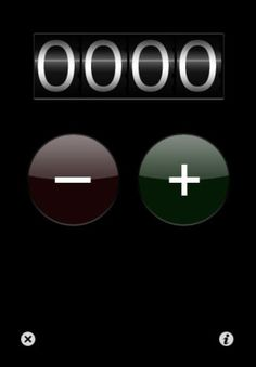 Tally Counter ($0.00) A simple attractive tally counter.  - Increasing and decreasing a count with large, easy to hit buttons.  - Resetting the count with undo.  - Settings a custom reset value.       - Setting the value of the counter manually by flicking the individual digits.    - Option to turn sound effects on and off.    - Option for left handed operation.  - Option for displaying the count on the app icon.