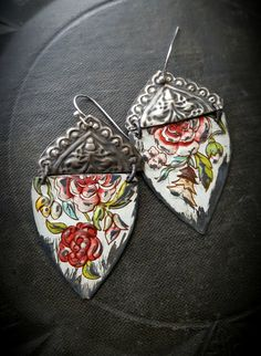 Tin Earrings Kuchi Banjara Flower Jewelry Flowers by YuccaBloom
