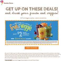 261 best coupons images on pinterest coupon coupons and 30th 16oz fruit veggie smoothies just 2 bucks at jamba juice coupon via the coupons app fandeluxe Choice Image
