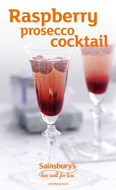This Prosecco cocktail is perfect for any Christmas or New Years Eve party and it takes just 2 minutes to make. Add raspberry liqueur to a champagne flute, top up with Prosecco and drop in a few raspberries. Hold a spoon inside the glass, over the top of the liqueur, and slowly pour in the Prosecco, pulling the spoon up slowly as you go – this will create the pretty two-tone effect. Tip: You can swap Prosecco for Cava if you prefer.