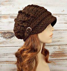 Crochet Hat Womens Hat Brown Newsboy Hat Brown Hat  by pixiebell