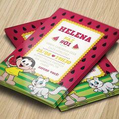 Convite da Magali inspirado na melancia, fruta predileta dela Birthday Parties, Happy Birthday, Party Themes, Alice, Origami, Birthdays, Creative, 35, Inspiration