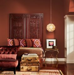 Rich walls nearly match a room's dark wood furniture for a stylishly moody effect. Valspar's Red Maple. Marsala, Sangria Color, Brown Paint Colors, Stylish Bedroom, Feminine Bedroom, Brown Furniture, Wood Furniture, Design Blog, Design Trends